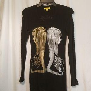 LA Culture Black Bodycon Openwork Mini Dress S